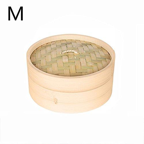 arthomer Premium Bambus Steamer Basket Large 2-Tier mit Deckel für Dim Sum, Gemüse, Fleisch und Fisch M: 18cm