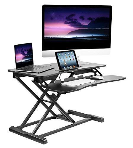 Mount-It. Mobile Ständer Schreibtisch/Höhe verstellbar Computer Arbeitsplatz Rolling Präsentation Warenkorb (mi-7940) 31.5 Inch Wide schwarz -