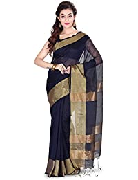 Wooden Tant Handloom Bengal Soft Silk Saree With Tested Zari Border In Navi Blue With Blouse Piece