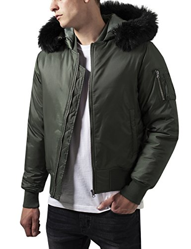 Urban Classics Hooded Basic Bomber Jacket Chaqueta, Grün Olive 176, XX-Large para Hombre