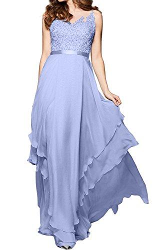 Ivydressing Damen Elegant lang Herzform Aermellos Chiffon Tuell Spitze Applikation Guertel Knopf gedeckt Abendkleid Partykleid Ballkleid Lavender