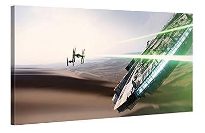 Star Wars Force Awakens - Millenium Falcon Chase - Star Wars 100x50cm - Premium canvas art print Wall-Deco - Original License product - cheap UK canvas shop.