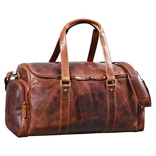 Stilord 'myles' grande borsa da viaggio in pelle uomo borsone weekender vintage in cuoio tracolla sport, colore:kara - cognac