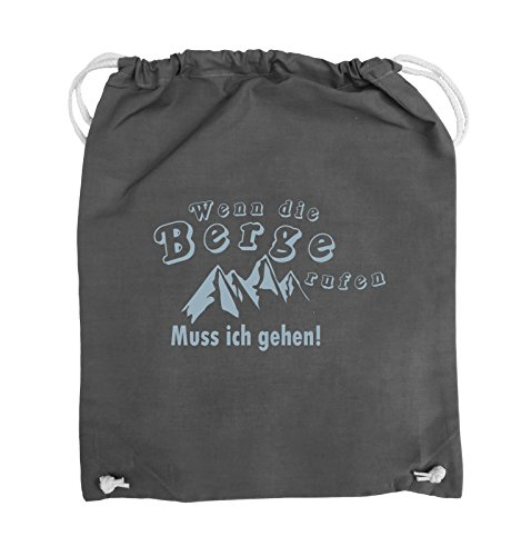 Comedy Bags - Wenn die Berge rufen - BERGE - Turnbeutel - 37x46cm - Farbe: Schwarz / Silber Dunkelgrau / Eisblau