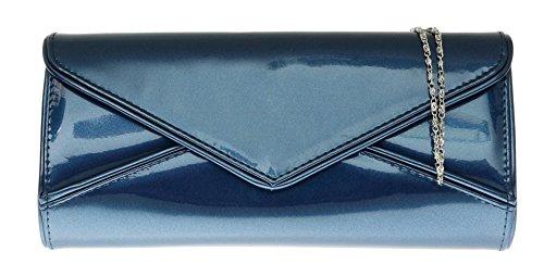 Girly HandBags Lackleder Unterarmtasche Glänzend Marineblau