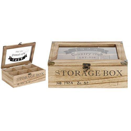 Teebox 6Fächer 24x16,5x8,5cm Vintage Teekistchen Teebeutelbox Teekiste Teedose