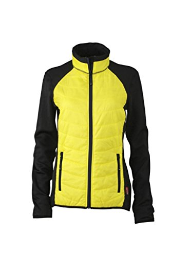 JAMES & NICHOLSON Körperbetonte Jacke in stylischem Materialmix Black/Yellow/Black