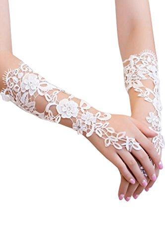 HO-Ersoka Damen Handschuh Stulpe fingerlos lang mit Schlaufe Pailetten und Satinband weiß