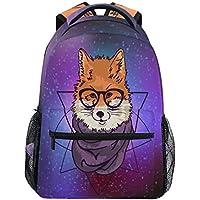 133f5734bd Hipster Wolf Cosmic Zaino Impermeabile per la Scuola, Palestra, Zaino con  Galassia Stellata,