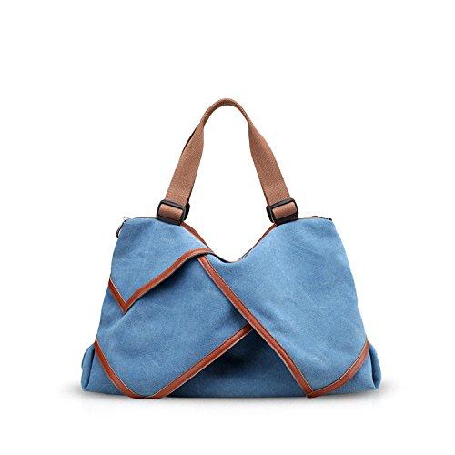 NICOLE&DORIS Borse da donna in Tela di canapa borse da spalla Borsa da Crossbody Bag da shopping Borsa grande Big Bag Viola Chiaro Blu