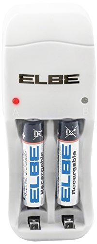 ELBE CC-525SC-AAA Chargeur de piles rechargeables avec 2 piles AAA incluses Blanc