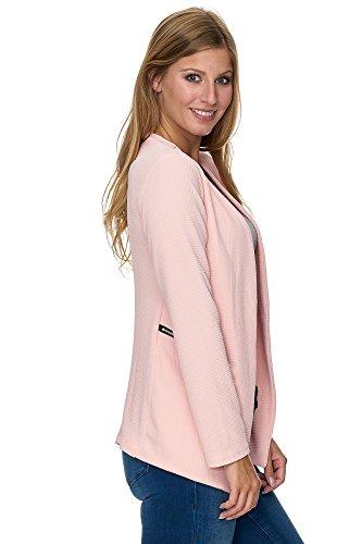 Unbekannt Jillymode Eleganter Damen Blazer PU mit Goldenem Zipper Kragenlos A1002 A1102-Rosa