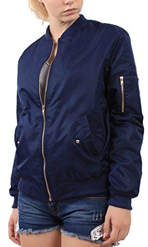 Mochoose Damen Klassische Bomber Jacke Gepolstert Stand Collar Coat Zipper Oberbekleidung Marineblau