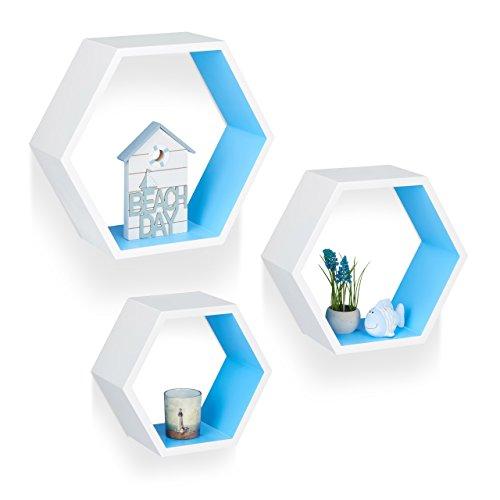 Relaxdays 10021898_362 set 3 mensole da parete, esagonali, legno mdf, decorative, per soggiorno, cameretta, bianco-blu
