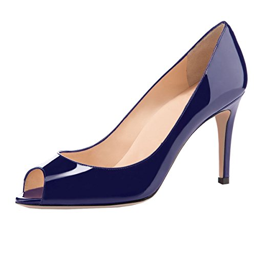 elashe Damen Peeptoe Pumps   8cm Stiletto High Heel   Bequeme Lack Stilettos Marine EU37 - Marine-peep-toe-heels