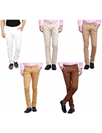 Nimegh White, Cream, Brown, Wine And Beige Color Cotton Casual Slim Fit Trouser For Men's (Pack Of 5)