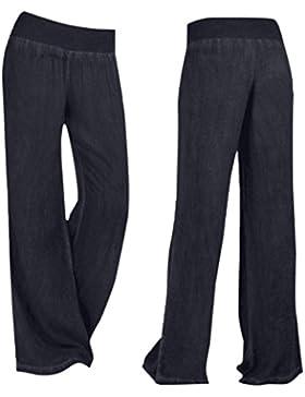 Pantalones Mujer 🎀 LuckyGirls Verano Color Puro Elástico Denim Cintura Alta Suelto Casual Moda Pantalón Palazzo...