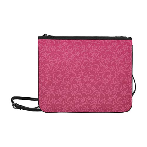 JEOLVP Elegance Seamless Wallpaper Crimson Flowers Pattern Benutzerdefinierte hochwertige Nylon Slim Clutch Crossbody Tasche Umhängetasche