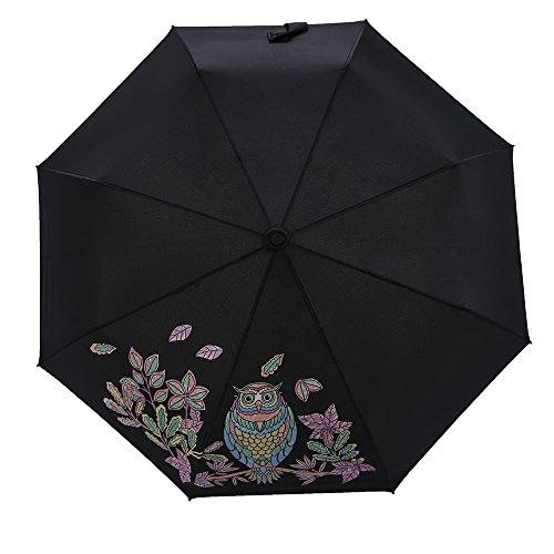 Neuleben Taschenschirm mit Farbwechsel Schwarz Leicht Kompakt Regenschirm Jungen Mädchen (Eule)