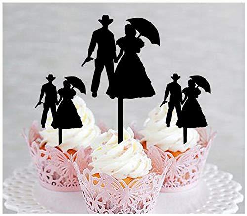 Topper, Hochzeit, Geburtstag, Party, romantisches Paar, Cowboy-Cowgirl-Western-Silhouette, 10 Stück ()
