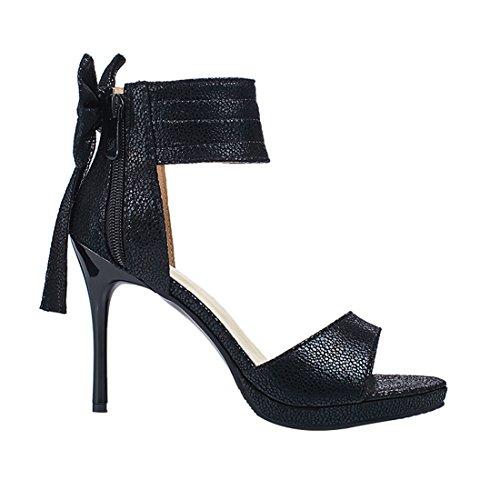 ... Correa Tobillo Tacón Plataforma Cremallera De La Zapatos Las De Sin  Aguja Negro Mujeres Gran Sandalias ... 2afced502377