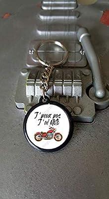 Porte clés 25 mm J'peux pas J'ai Moto Rouge