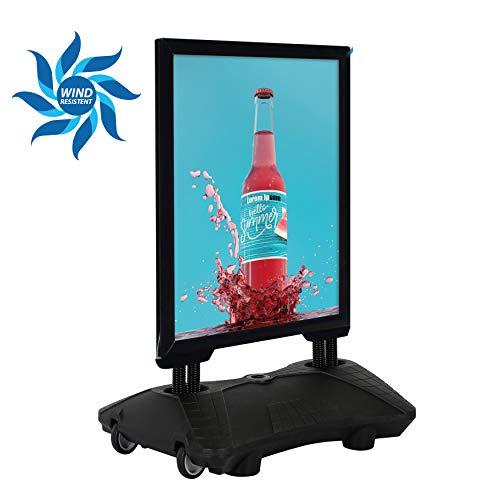 DISPLAY SALES Kundenstopper Plakatständer WindPro® DIN A1 SCHWARZ für Plakate mit 594 x 841 mm. Wetterfester Plakataufsteller mit Kunststofffuß und Rollen -