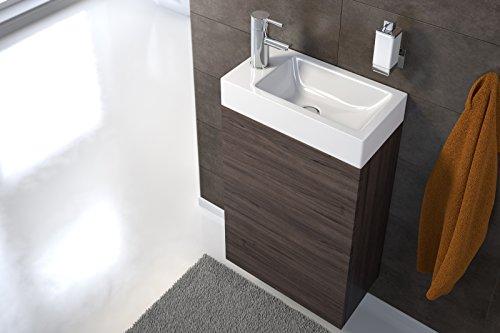 SAM Waschplatz Vega, Waschtisch 40 x 22 cm, Waschbecken aus Keramik, Trüffeleiche matt, Tür mit Push-Open-Funktion