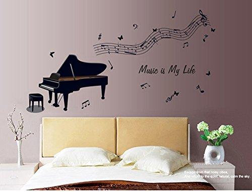 ufengke® Nero Pianoforte e Note Musicali Adesivi Murali, Camera da ...