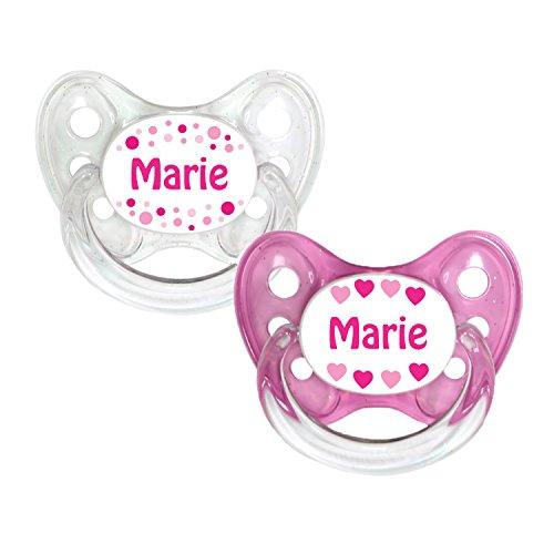 Dentistar® Silikon Schnuller 2er Set inkl. 2 Schutzkappen - Nuckel Größe 2, 6-14 Monate - zahnfreundlich und kiefergerecht | Marie