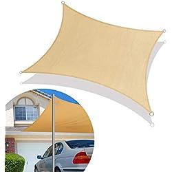 Qdreclod Toldo Velas de Sombra para Patio, Impermeable a Prueba de Viento Toldo de Refugio Canopy Vela protección UV para Exteriores Jardín Terraza 3x3m Cuadrado Sand