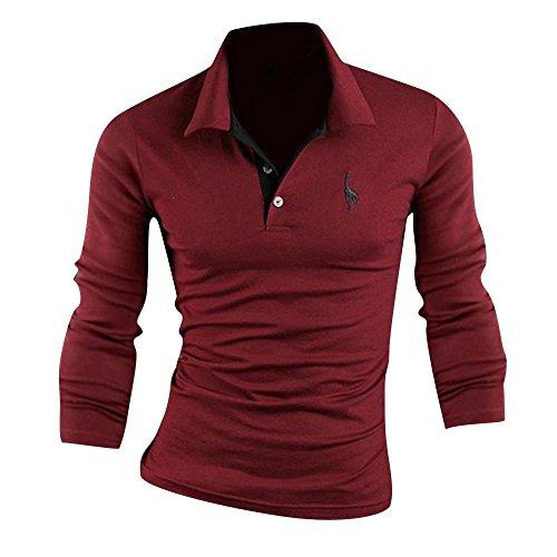 Jeansian Polo De Manga Larga Casual Hombres Moda Camisas Men Fashion Casual Long Sleeve Polo Shirts D339 WineRed S