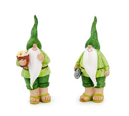 Impressionata 2X Deko Figur Zwerg Wichtel mit Blumentopf und Spaten aus Polystein Grün, 10 cm, Gartenfigur Gartenzwerg Wichtelfigur für Wohnung Garten