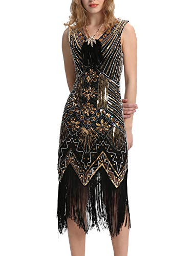 Elsa & Martin Frauen 20er Jahre Flapper Perlen V-Ausschnitt Gatsby Kleid für 1920s (S,1Schwarz + Gold) (1920 Kleider S)