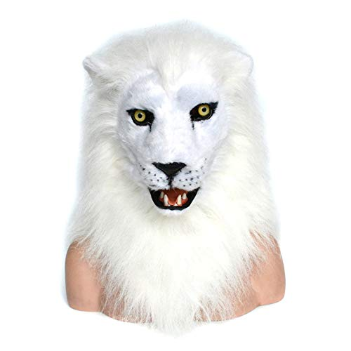 HNNH Masks Neuheit-Halloween-Kostüm-Ritter-Maske, Pelzhaar, gruseliger Löwe-Kopf, weiße Löwe-Maske Furry Animal Masks ( Color : White ) (Macht Ein Furry Kostüm)