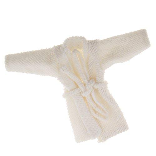 B Blesiya Mini Bademantel Saunamantel Puppenbekleidung Für 1:12 Puppenhaus Dekoration - Weiß