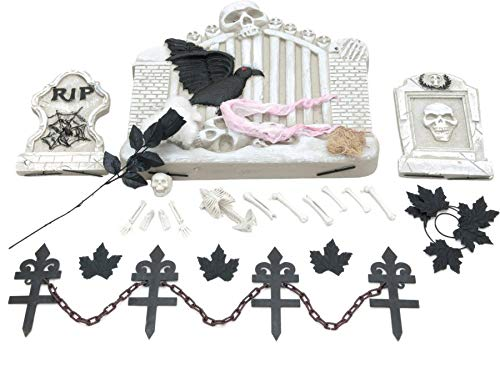 EUROPALMS Halloween-Skelett mit Grabstein - Dekorationsset für Halloween