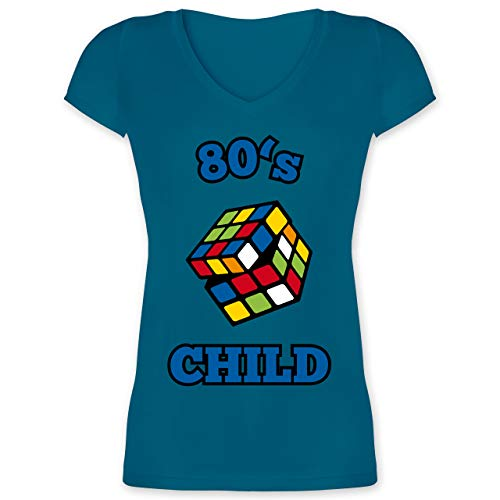 Statement Shirts - 80's Child - Zauberwürfel - XXL - Türkis - XO1525 - Damen T-Shirt mit V-Ausschnitt
