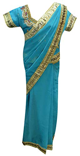 Indischen Party Kostüm Themen - Kinder Mädchen Fertig Gemacht Saree Bollywood Kleid 1205 (32 (9-10 Jahre), Türkis)