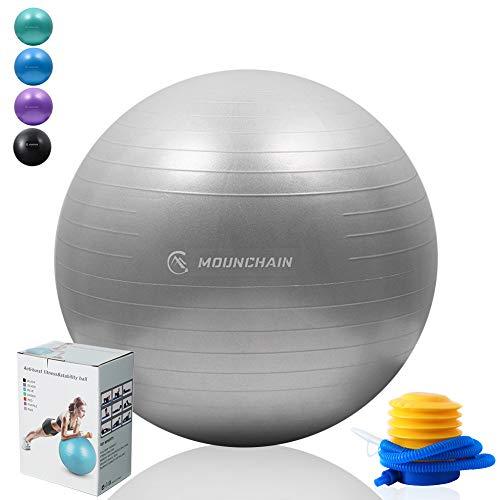 für Fitness, Gymnastikball, 7,6 kg, Anti-Burst-Ausrüstung für Heimtraining, Balance, Fitnessstudio, Yoga, Schreibtischstühle, grau, 75cm ()
