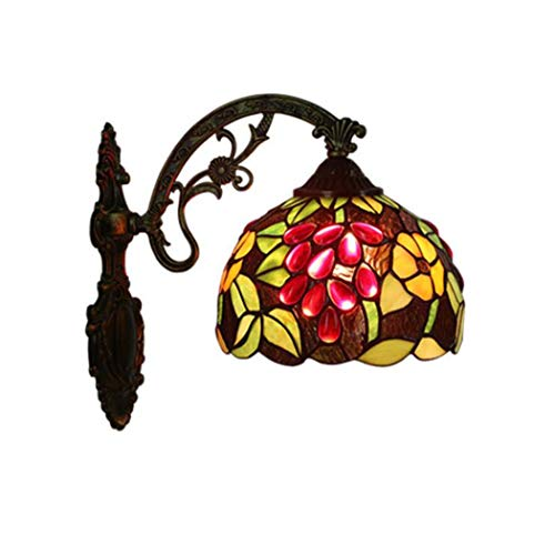 Bronze-feder-wand-beleuchtung (Tiffany-Art-Wandlampe, Kirchen-Buntglas-Trauben-Entwurfs-Wand-Licht, europäische Retro- Bar-Kaffeegeschäft-Treppen Nachtwand-Lampe yd&h (Farbe : EIN))