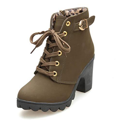 VJGOAL Damen Stiefel, Damen Mode High Heel Lace up Stiefeletten Damen Schnalle Winter Warm Platform Wedges Schuhe (Armeegrün, 39 EU)