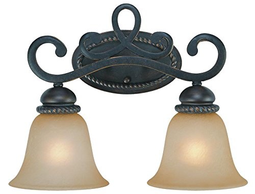Jeremiah 25202-MB Highland Place 2 Light Vanity Light Fixture with Light Umber Etched Glass, Mocha Bronze by Jeremiah (Place Highland)