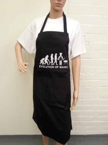 Novelty Aprons - Delantal para hombre, diseño con inscripción 'Evolution of Man!'