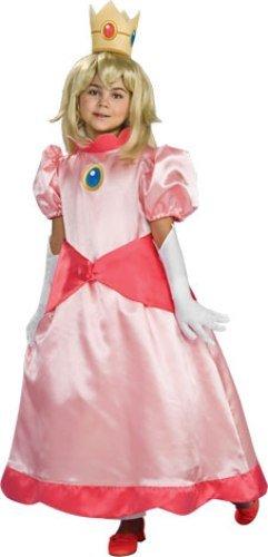 (Prinzessin Peach. Große 8-10 Jahren. rosa Kleid mit Puffärmeln, weiße Handschuhe und eine Krone)
