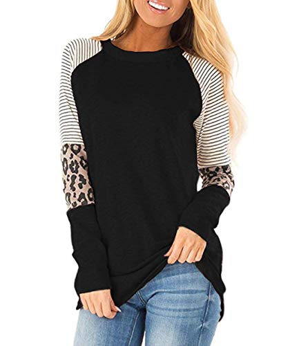 Mujer Leopardo Sudadera Camiseta Manga Larga Color Bloque Jersey Cómodo Jerséis Tops Black XXL