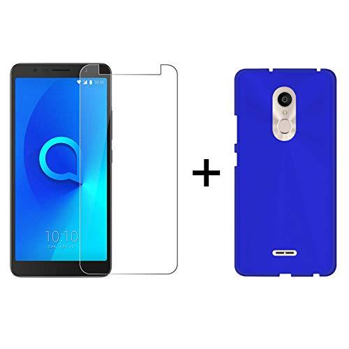 TBOC® Pack: Blau Gel TPU Hülle + Hartglas Schutzfolie für Alcatel 3C 5026A 5026D (6.0 Zoll) - Ultradünn Flexibel Silikonhülle. Panzerglas Bildschirmschutz in Kristallklar in Premium Qualität.