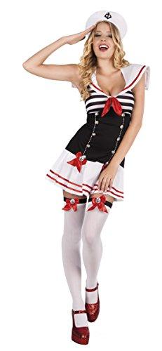 Karnevalsbud - Damen Matrosen Kostüm- Minikleid- Schleifen, Mehrfarbig, Größe XL