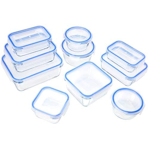AmazonBasics - Recipientes de cristal para alimentos, con cierre 20 piezas 10 envases + 10 tapas...
