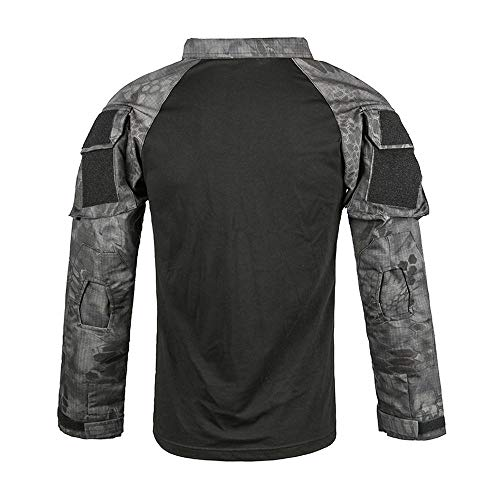 QAZW Traje de Instructor de Camuflaje Gris Negro Uniforme Traje de Entrenamiento de Deportes al Aire Libre Traje de Rana Ropa táctica Táctico Camisa Ejército Hombres Militar Camisa Manga E-M
